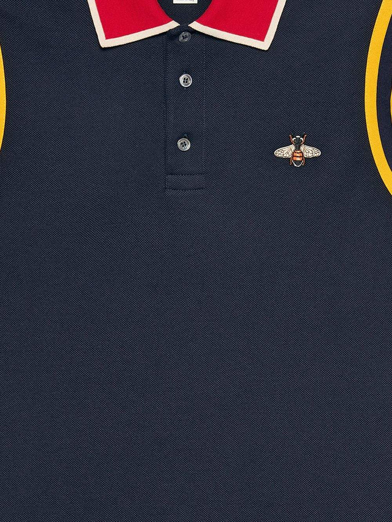 Gucci Bee Print Polo Blue