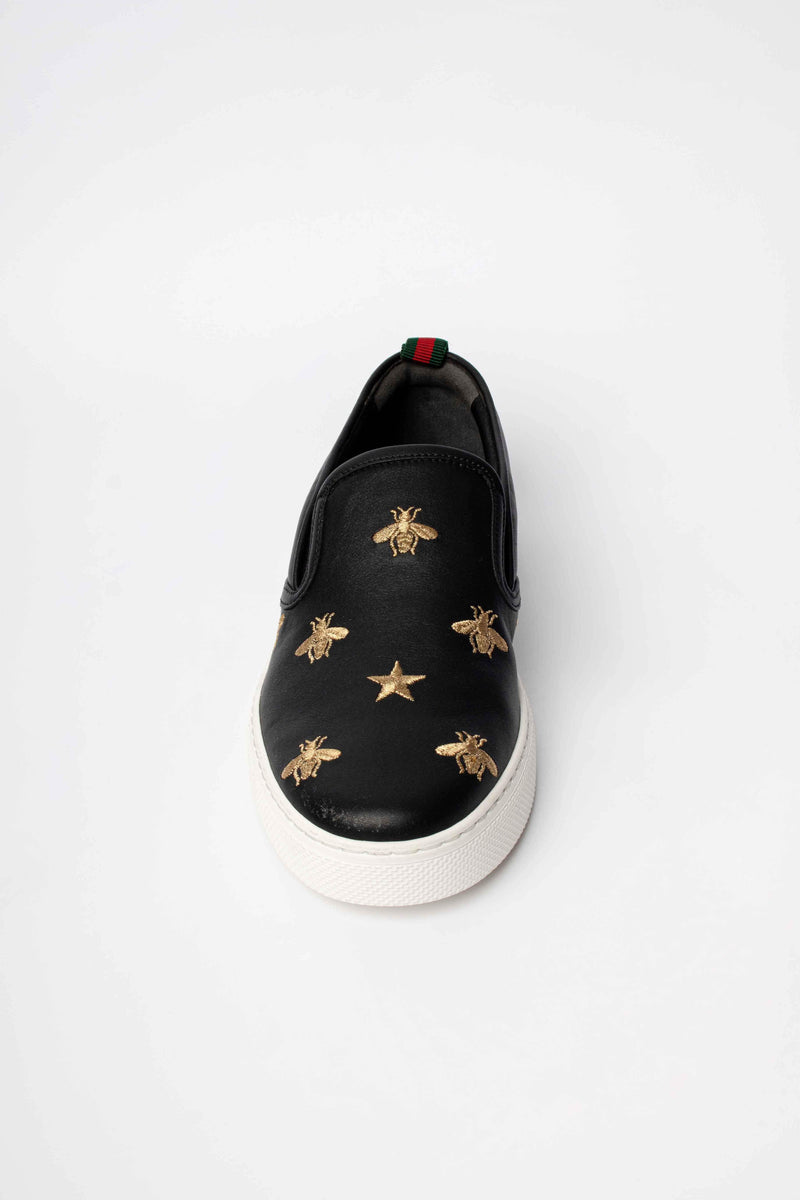 Gucci Leather Bees Print Slip-on Sneakers Black