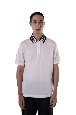 Gucci Web And Tiger Head Polo White