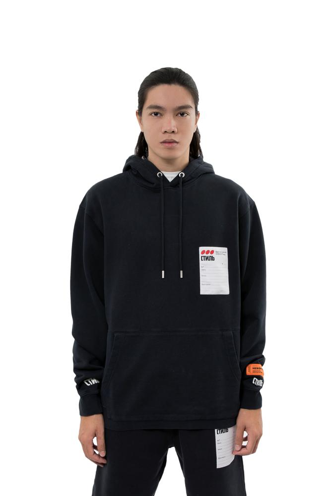 Heron Preston Label Hoodie Black