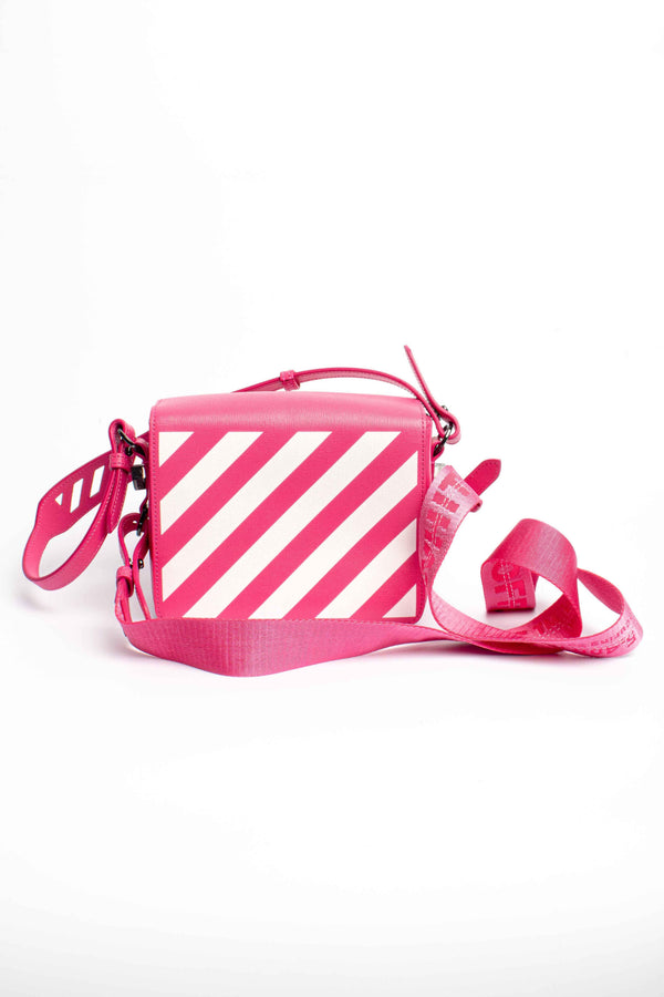Off-White Baby Flap Shoulder Diagonal Stripes Bag Pink