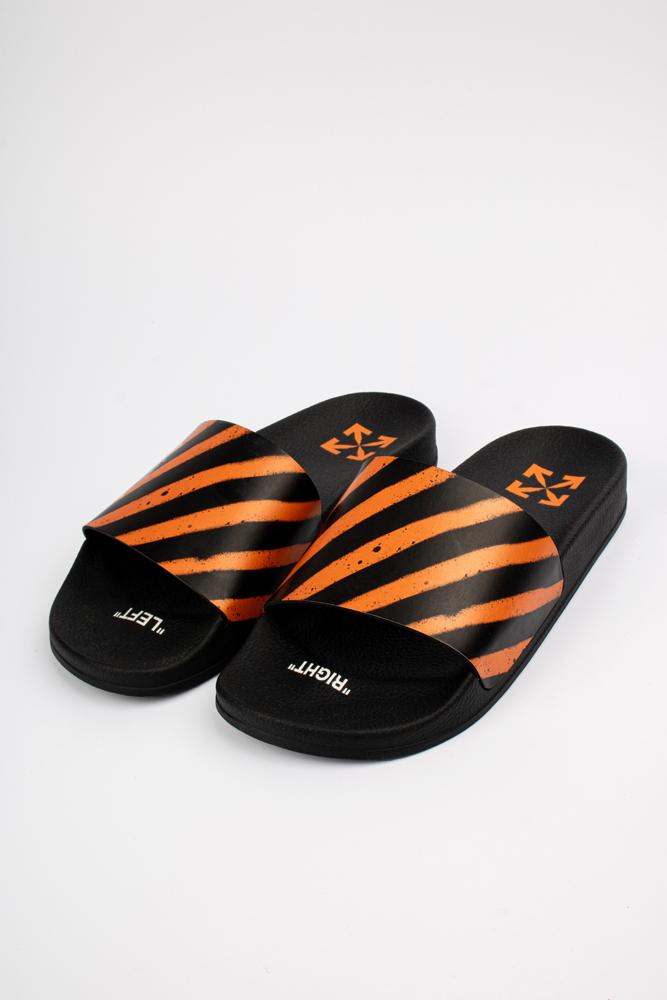 Off-White Diagonal Stripe Slides Orange