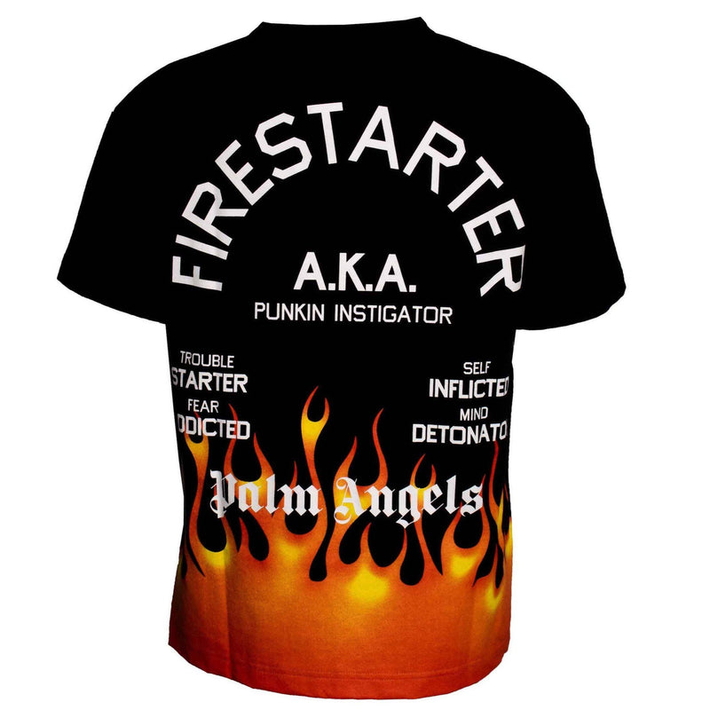 Palm Angels Firestarter Flame Print Tee Black