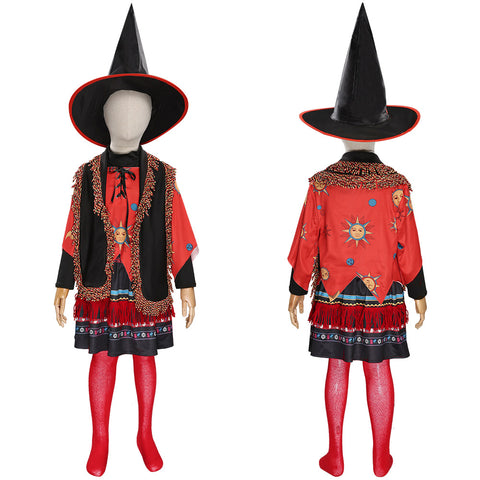 Hocus Pocus-Dani Dennison Cosplay Costume Kids Children Girls Skirt Hat Outfits Halloween Carnival Suit