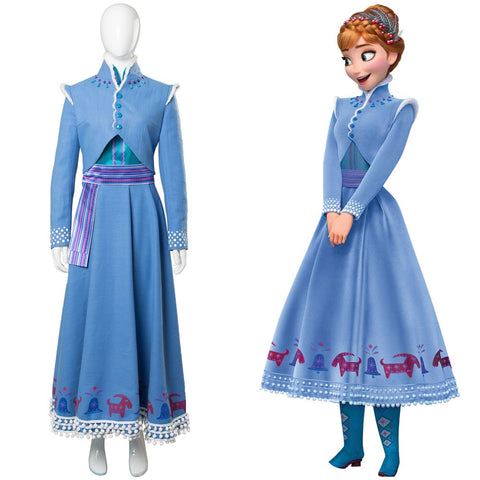 Anna Olaf's Frozen Adventure Anna Dress Outfit Cosplay Costume