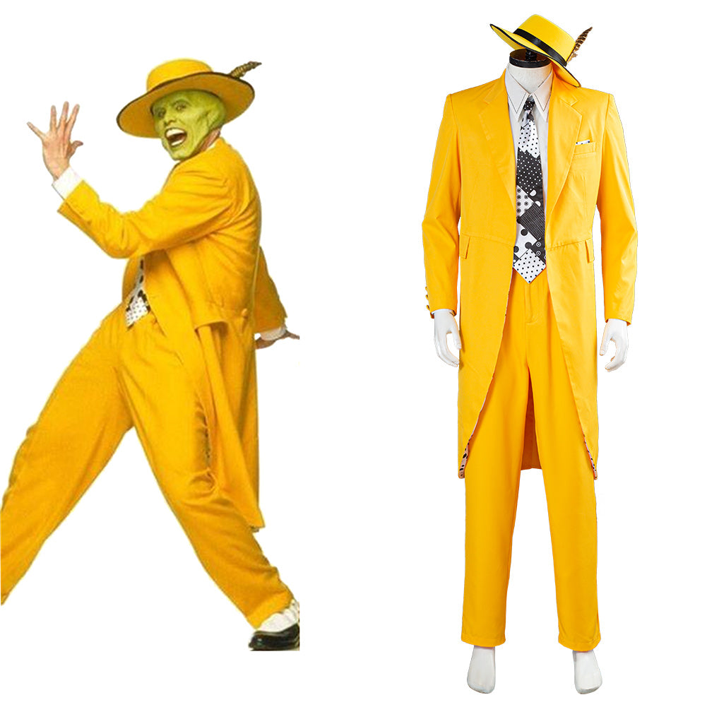 Jim Carrey Yellow Suit Cosplay Costume Men Uniform Outfit Halloween Carnival Costume