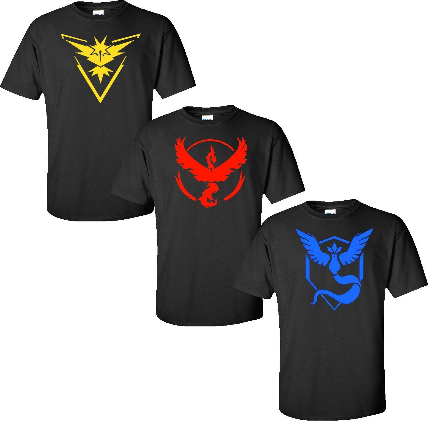 Pokemon Go Logo Team Valor/Instinct/Mystic Symbol Black T-Shirt Cosplay Costume