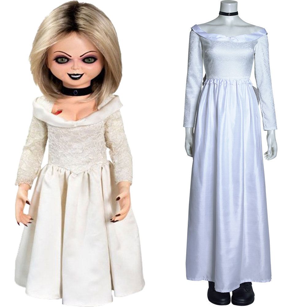 Bride of Chucky Tiffany Cosplay Costume Long Dress Outfits Halloween Carnival Suit