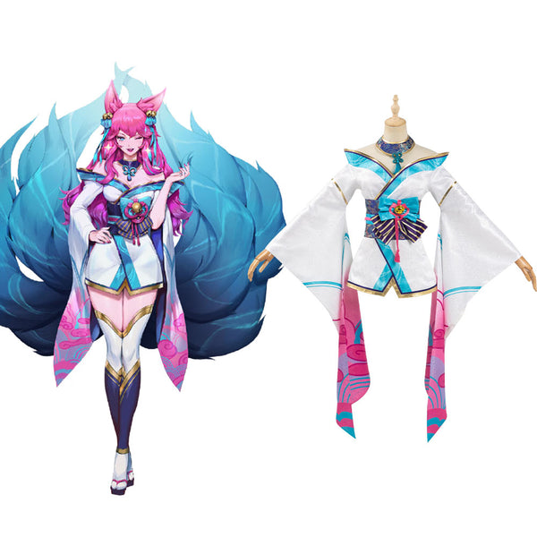 League of Legends LOL Fox Ahri The Nine-Tailed Fox Cosplay Costumes Women Kimono Dress Outfit Halloween Carnival Suit