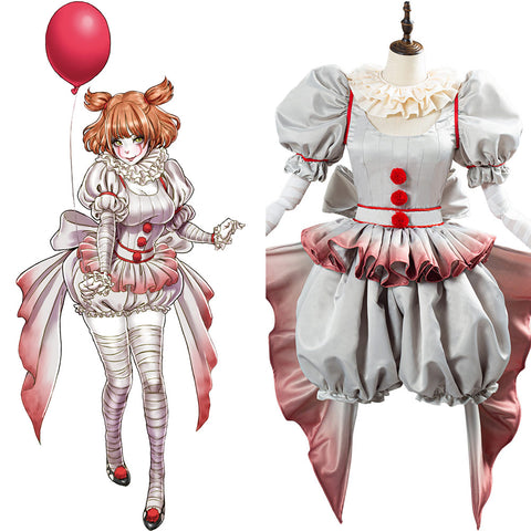 Pennywise Horror Pennywise Cosplay Costume The Clown Costume Outfit for Women Girls Halloween Carnival