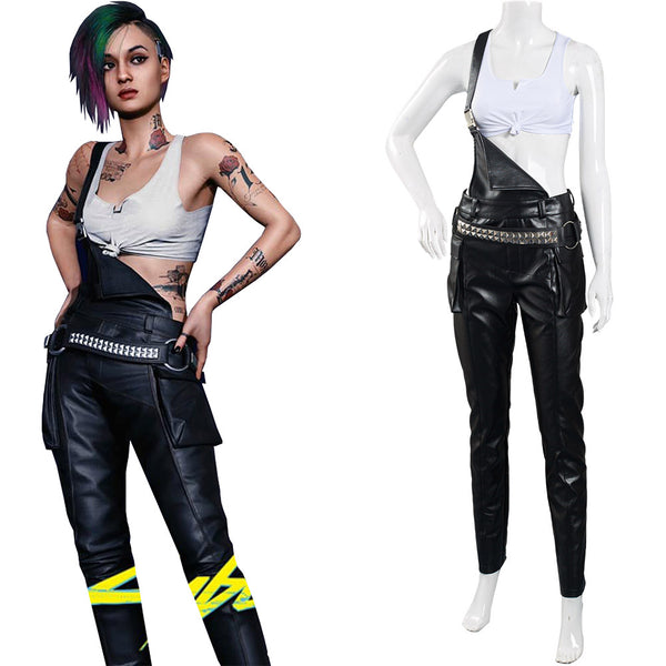 Game Cyberpunk 2077 Judy Cosplay Costume Crop Top Overalls Outfits Halloween Carnival Suit