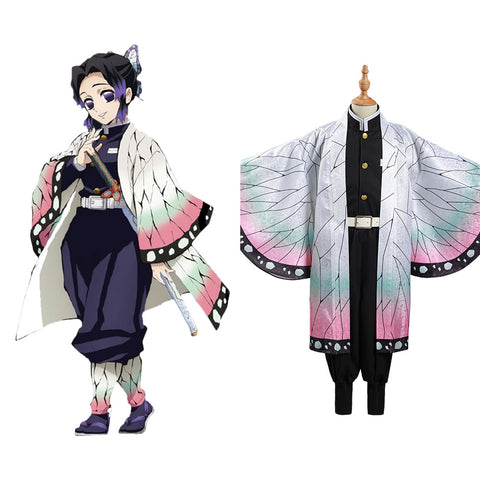 Demon Slayer: Kimetsu no Yaiba Kochou Shinobu Cosplay Costume Kids Cloak Coat Halloween Carnival Suit