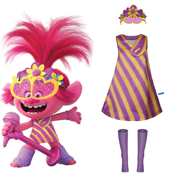 Trolls 2:World Tour-Poppy Adult Women Dress Outfit Cosplay Costume Halloween Carnival Costume