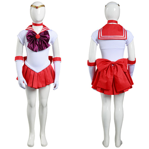 Anime Sailor Moon Hino Rei Cosplay Costume Kids Grils Dress Outfits Halloween Carnival Suit