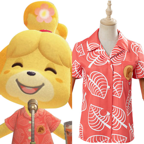 Game Animal Crossing Women Short Sleeve Shirts Top Isabelle Cosplay Costume