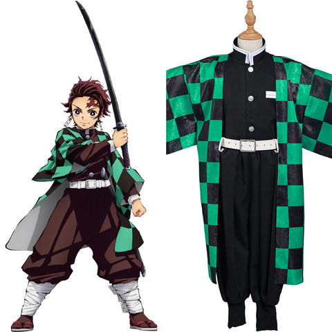 Demon Slayer: Kimetsu no Yaiba Kamado Tanjirou Cosplay Costume Kids Kimono Outfits Halloween Carnival Suit