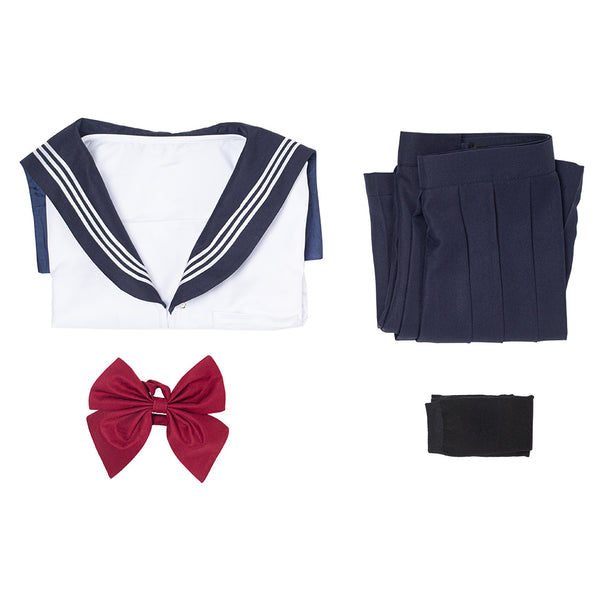 Summer Navy Sailor Suit Cosplay Top Skirt Outfit JK High School Uniform Class Uniform Student Clothing