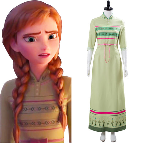 Anna Frozen 2 Nightgown Gown Arendelle Bedroom Green Dress Cosplay Costume