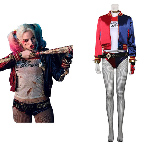 Suicide Squad Harleen Quinzel Cosplay Costume T-shirt Pants Outfits Halloween Carnival Suit
