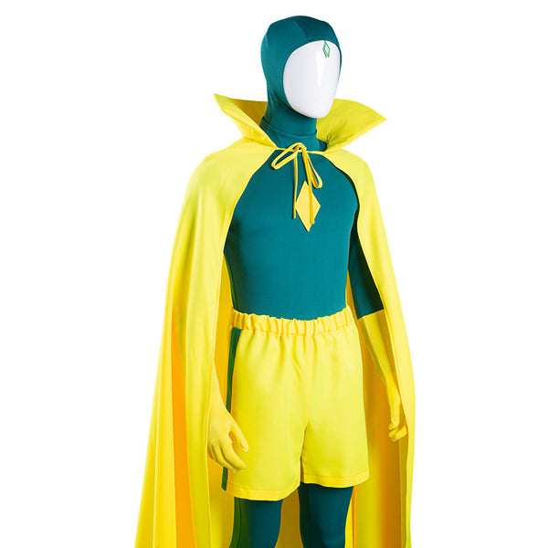 Wanda Vision Vision Cosplay Costume Jumpsuit Cloak Outfits Halloween Carnival Suit