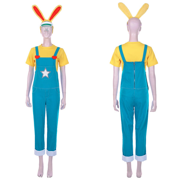 Animal Crossing: New Horizons-Zipper T. Bunny Cosplay Costume Men T-shirt Overalls Outfits Halloween Carnival Costume