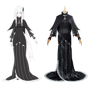 Re:Life in a different world from zero Echidna/Ekidona Black Dress Outfit Halloween Cosplay Costume Carnival Costume