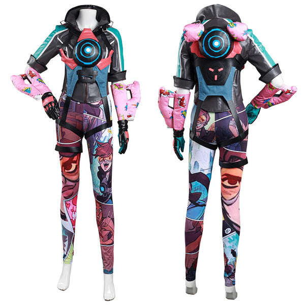 Overwatch OW Tracer Cosplay Costume Women Top Pants Outfits Halloween Carnival Suit