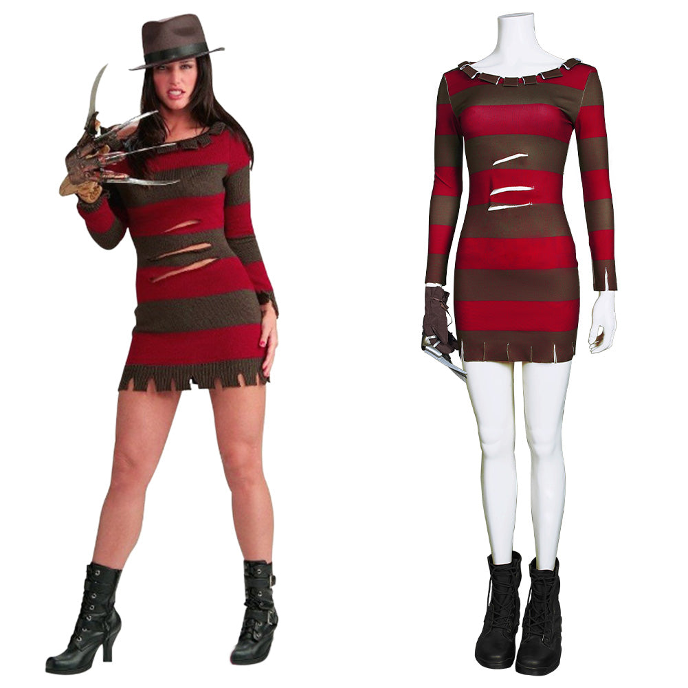 Sexy Lady Freddie Kruger A Nightmare on Elm Street-Ghost Street Dress Cosplay Costume