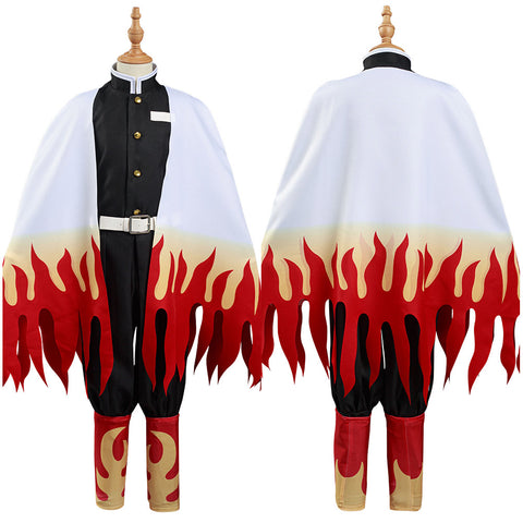 Demon Slayer: Kimetsu no Yaiba Rengoku Kyoujurou Cosplay Costume Kids Children Coat Pants Cloak Outfits Halloween Carnival Suit