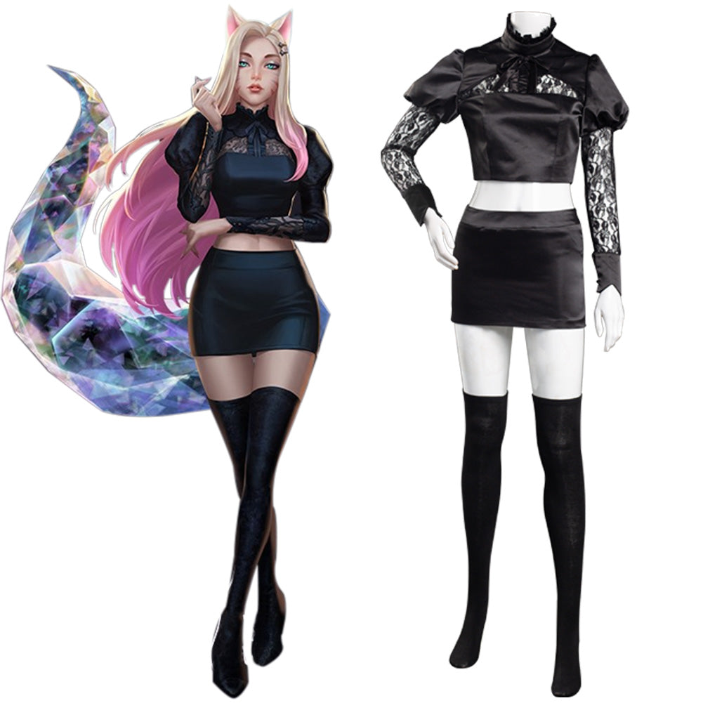 League of Legends LOL KDA The Baddest Fox Ahri The Nine-Tailed Cosplay Costume Women Skirt Outfits Halloween Carnival Suit