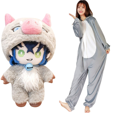 Demon Slayer ·Hashibira Inosuke Cosplay Costume Onesies Pajama Men Women Sleepwear Pyjamas Christmas Halloween Costume