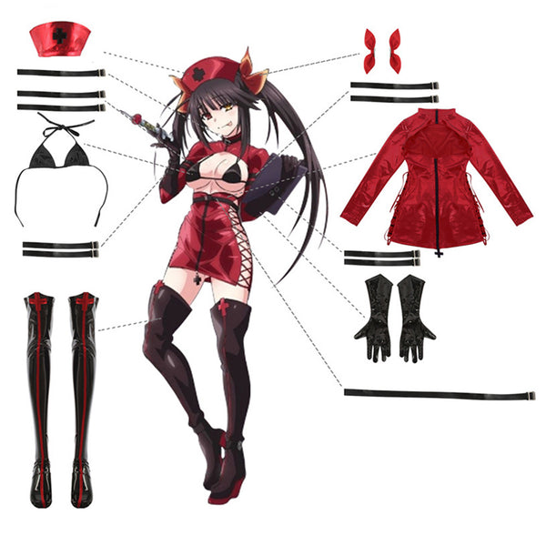 Anime Date A Bullet Tokisaki Kurumi Cosplay Costume Women Girls Nurse Uniform Outfits Halloween Carnival Costume