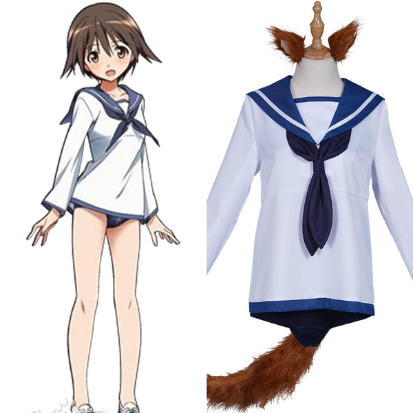 Strike Witches Miyafuji Yoshika Cosplay Costume Sailor Suit Dress Swimwear Outfits Halloween Carnival Suit