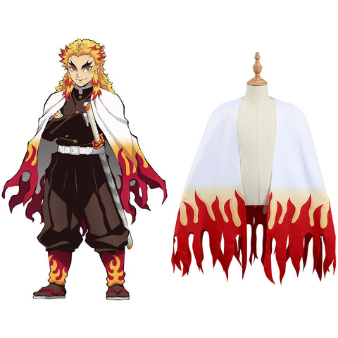 Demon Slayer: Kimetsu no Yaiba Rengoku Kyoujurou Cosplay Costume Kids Cloak Coat Halloween Carnival Suit