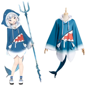 Hololive English VTuber Gawr Gura Cosplay Costume Top Outfits Halloween Carnival Suit