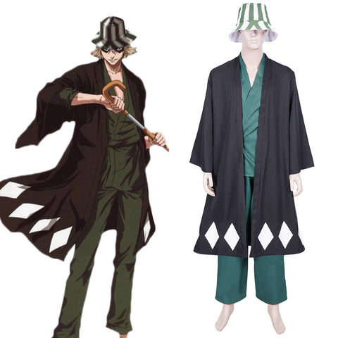 Anime Bleach Urahara Kisuke Cosplay Costume Coat Pants Hat Outfits Halloween Carnival Suit