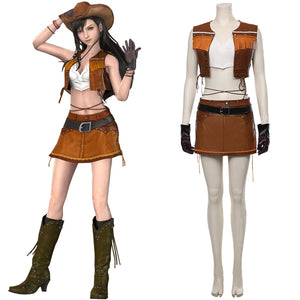 Final Fantasy VII Remake Tifa Lockhart The Cowboy Suit Cosplay Costume Halloween Carnival Costume