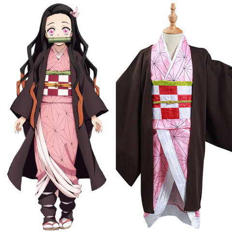 Demon Slayer: Kimetsu no Yaiba Kamado Nezuko Cosplay Costume Kids Kimono Outfits Halloween Carnival Suit