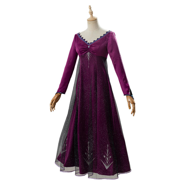 Elsa Frozen 2 Adult Outfit Purple Dress Cosplay Costume