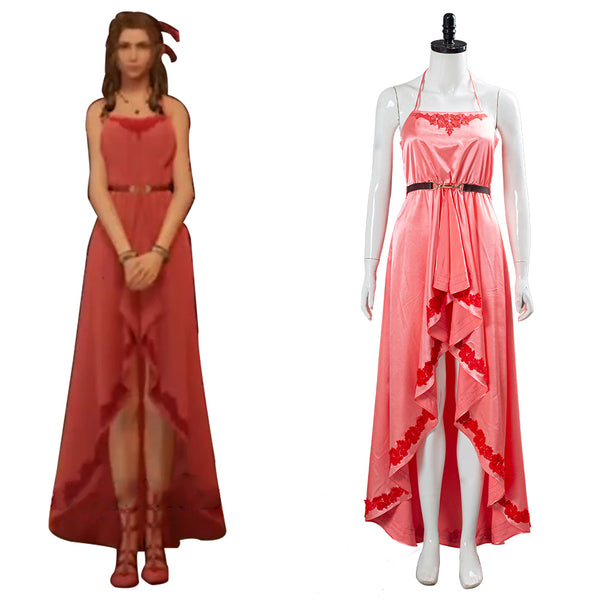 Final Fantasy VII:7 Remake Aerith Wall Market the Honeybee Inn Peach Pink Long Gown Halter Dress Cosplay Costume