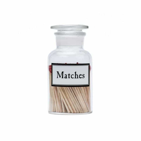 Accessories - Matches - Clear Apothecary Glass With Striker Paper