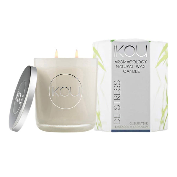iKOU - De-Stress - Aromacology Natural Wax Candle - Clementine, Lavender & Geranium - Oscura - Bath, Body & Home Fragrance
