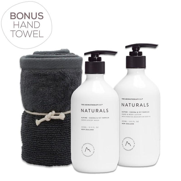 The Aromatherapy Co. - Naturals - Alpine - Gift Pack - Hand & Body Wash, Hand & Body Lotion & Bonus Hand Towel - Cocoa & Icy Vanilla