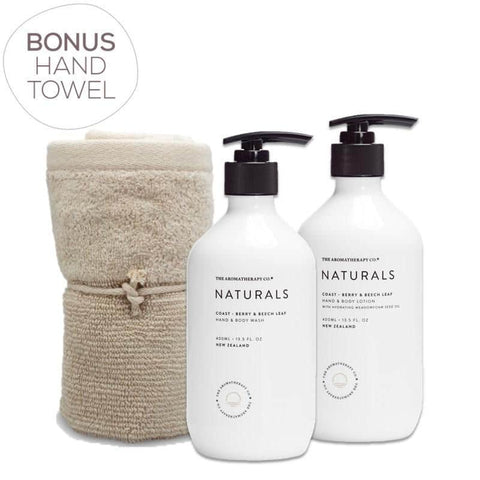 The Aromatherapy Co. - Naturals - Coast - Gift Pack - Hand & Body Wash, Hand & Body Lotion & Bonus Hand Towel - Berry & Beech Leaf