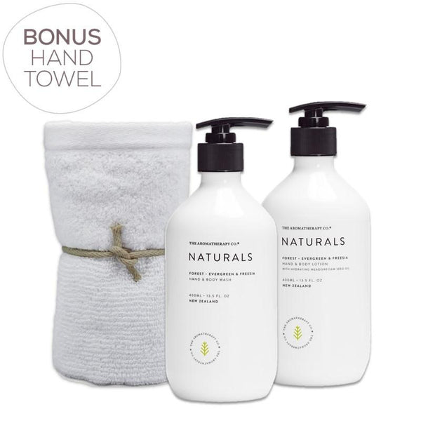 The Aromatherapy Co. - Naturals - Forest - Gift Pack - Hand & Body Wash, Hand & Body Lotion & Bonus Hand Towel - Evergreen & Freesia