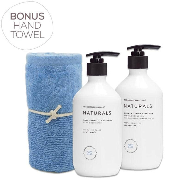 The Aromatherapy Co. - Naturals - River - Gift Pack - Hand & Body Wash, Hand & Body Lotion & Bonus Hand Towel - Waterlily & Geranium