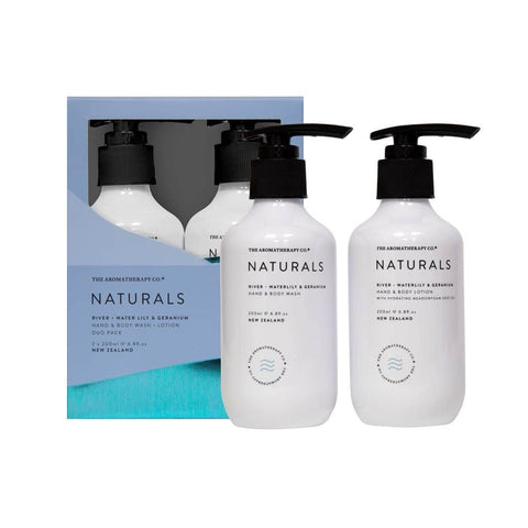 The Aromatherapy Co. - Naturals - River - Wash & Lotion Set - Waterlily & Geranium