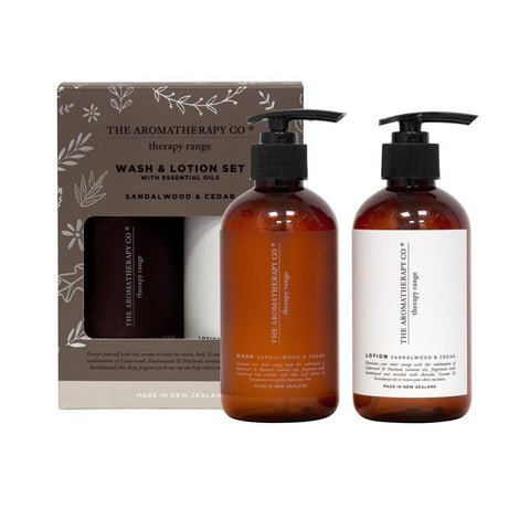 The Aromatherapy Co. - Therapy Range - Strength - Wash & Lotion Set - Sandalwood & Cedar