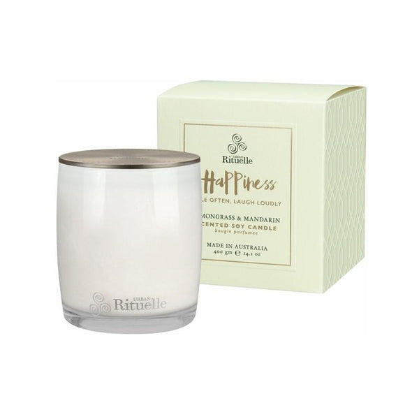 Urban Rituelle - Scented Offerings - Happiness - Scented Soy Candle 400g - Lemongrass & Mandarin