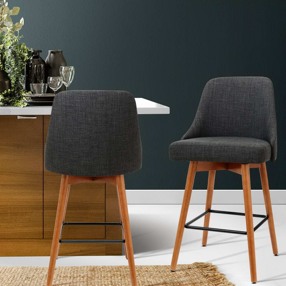 Artiss 2x Wooden Swivel Bar Stools - Fabric Charcoal